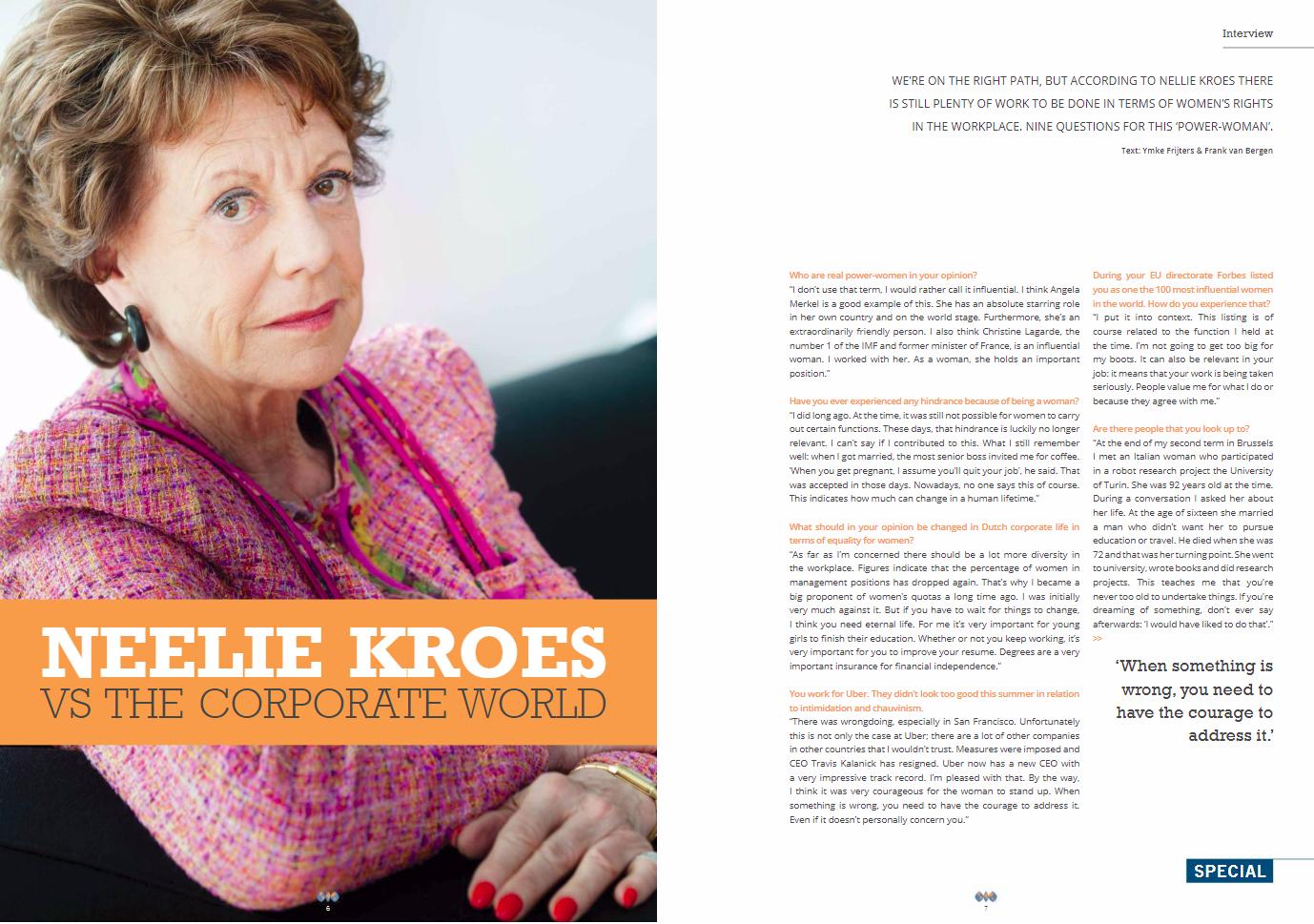 Neelie Kroes vindt dat er nog een hoop mag veranderen rondom vrouwen in de zakenwereld.